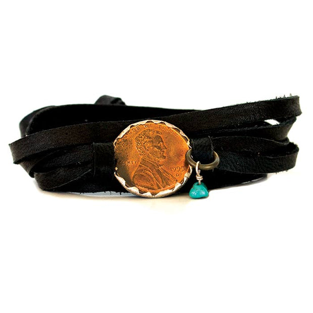 Black Deerskin Leather Wrap  Penny Bracelet