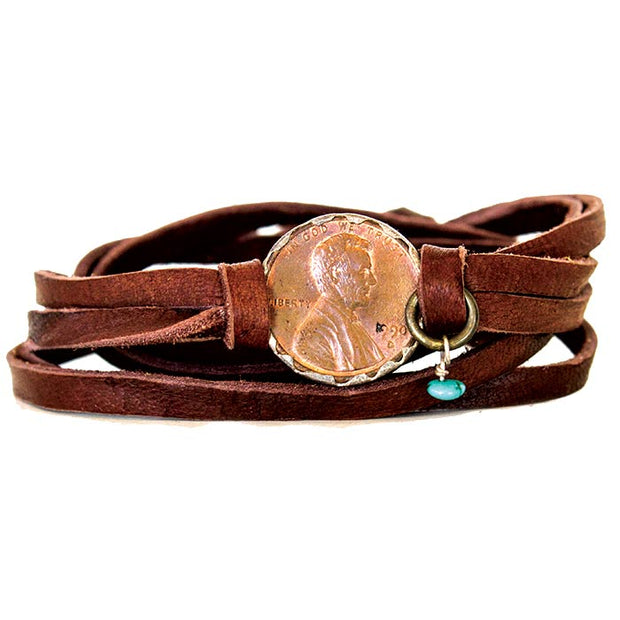 Brown Deerskin Leather Wrap Penny Bracelet