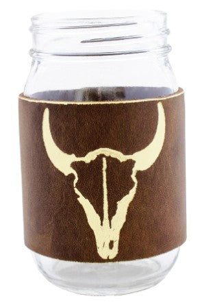 Bison Leather Mason Jar Sleeve (Brn/Gld)