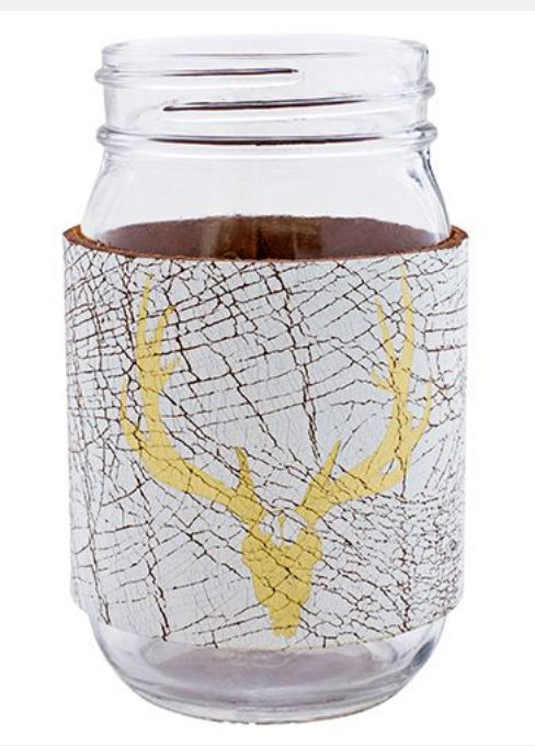 Bison Leather Mason Jar Sleeve (Wht/Gld)