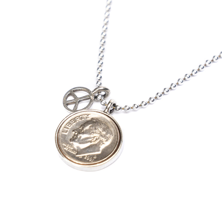 "Heavenly Dime With Peace Charm Necklace on 24"" ball chain."