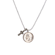 "Heavenly Dime With Cross Necklace on 24"" ball chain"