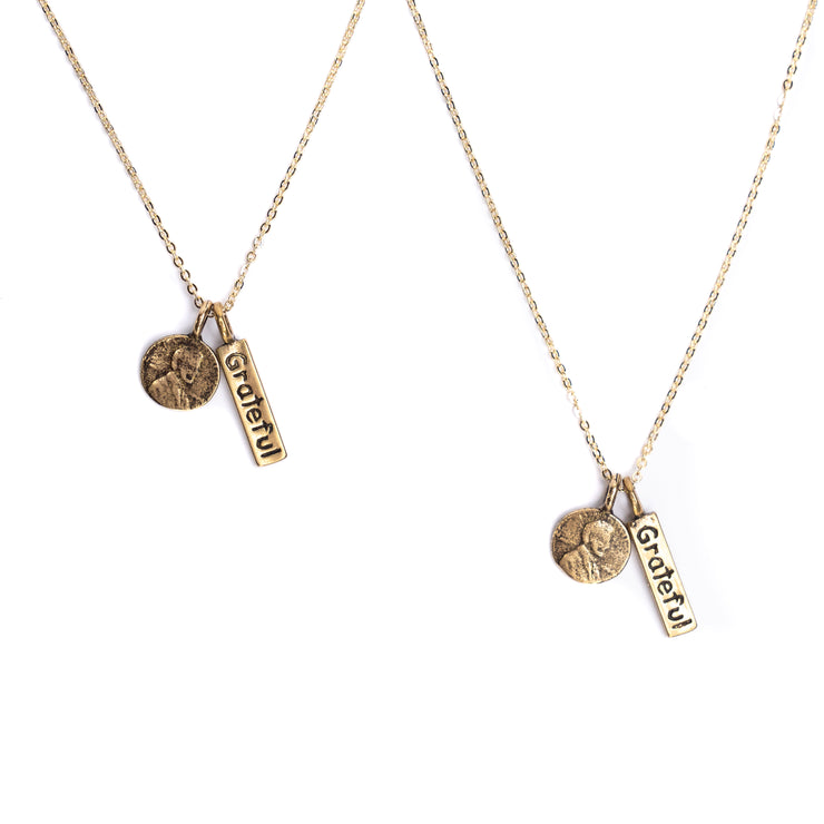 Friendship Necklace with 2 Petite Penny and Grateful word Charm Necklaces in Yellow Bronze