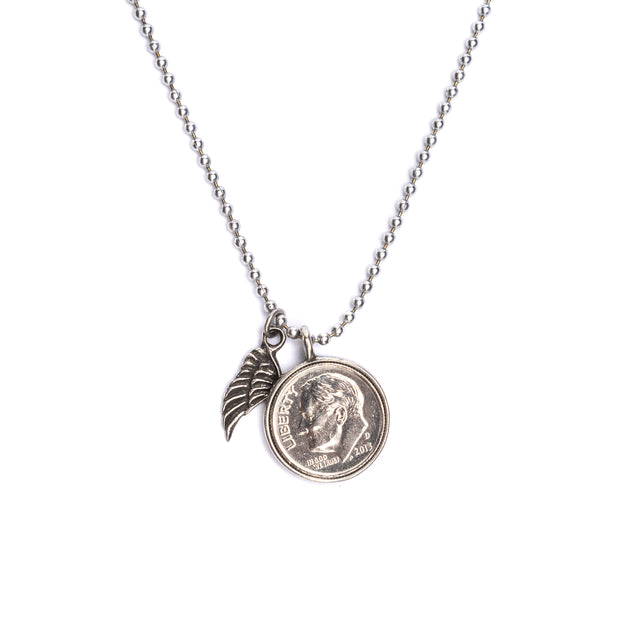 "Heavenly Dime and Wing Necklace on 24"" ball chain"