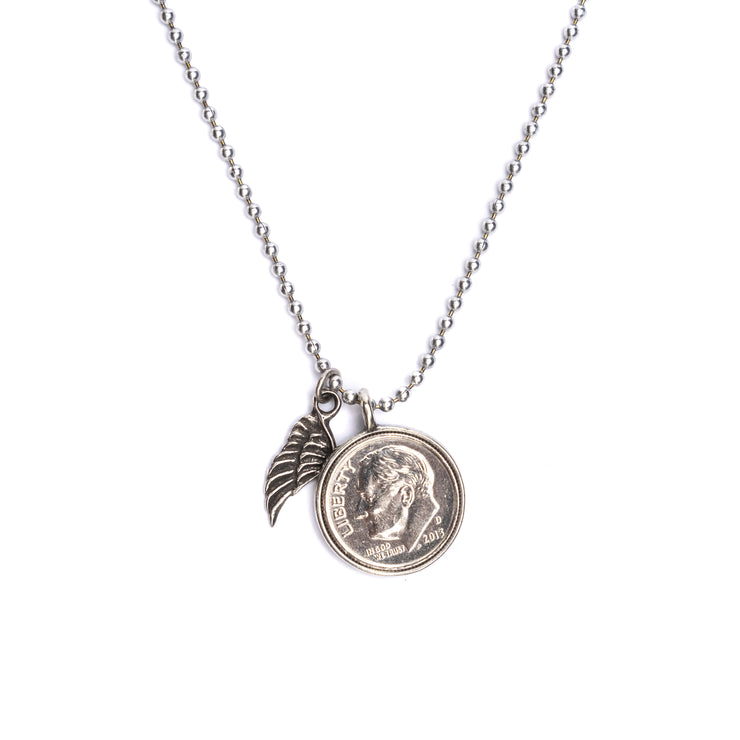Heavenly Dime With Wing Necklace