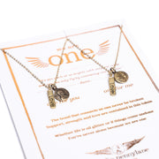 Friendship Necklace with 2 Petite Penny and Love Charm Necklaces in Yellow Bronze