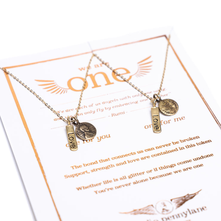 Friendship Necklace with 2 Petite Penny and Love word Charm Necklaces in Yellow Bronze