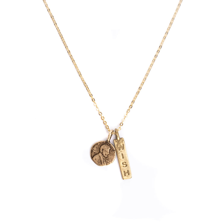 Wish Petite Penny with Wish Word Charm in Yellow Bronze