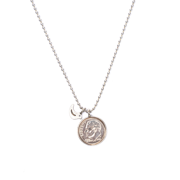 "Heavenly Dime With Dove Necklace on 24"" ball chain."