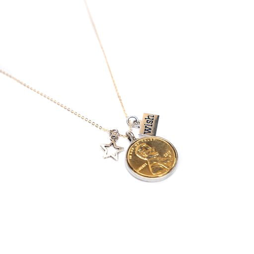 Gold Plated Wishing on a Star Penny Necklace with Charms