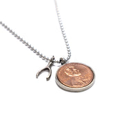 Penny from Heaven Single Penny Necklace on Ball Chain with Wishbone Charm