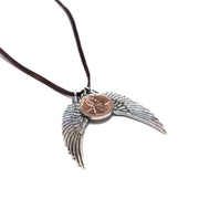 Penny from Heaven Necklace with Wings on Leather Cord. Select your year in drop down menu for an additional $10