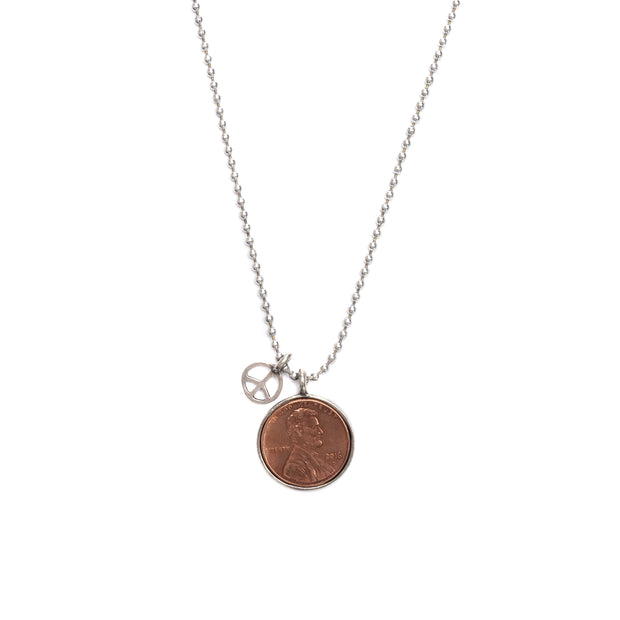 Penny from Heaven Single Penny Necklace on Ball Chain with Peace Charm