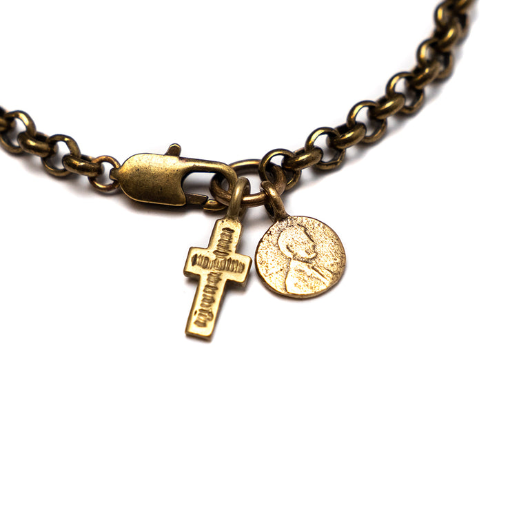 Brass Rolo Chain Bracelet with Petite Penny and Cross Charm