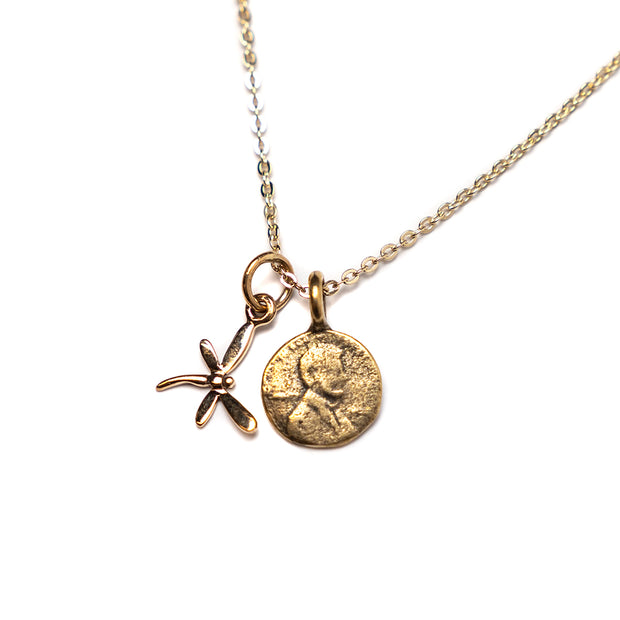 Petite Penny From Heaven with Gold Dragonfly Charm, Yellow Bronze Petite Penny