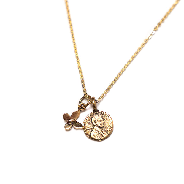Petite Penny From Heaven with Gold Butterfly Charm, Yellow Bronze Petite Penny