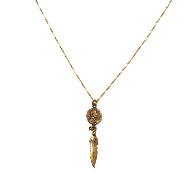 "Petite Penny From Heaven Dangle Feather Charm Necklace on a 22"" Gold Plated Sterling Box Chain."