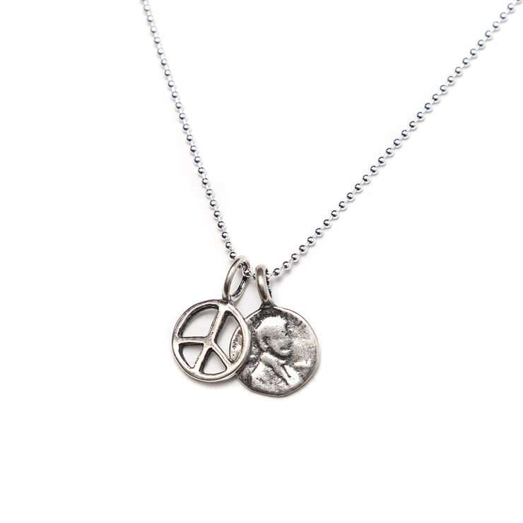 Sterling Silver Petite Penny From Heaven Necklace with Sterling Peace Charm