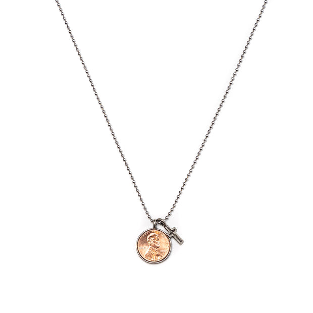 Penny from Heaven Single Penny Necklace on Ball Chain with Cross Charm