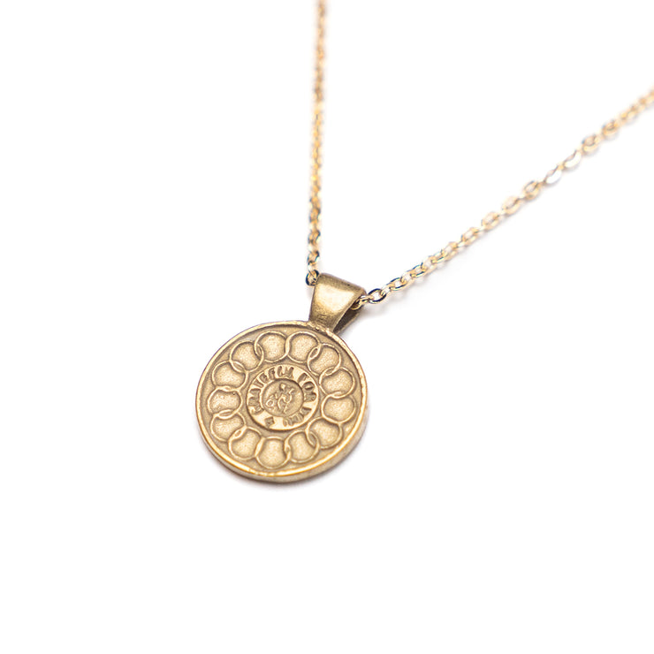 We Are One America's First Penny Necklace.  Yellow Bronze.