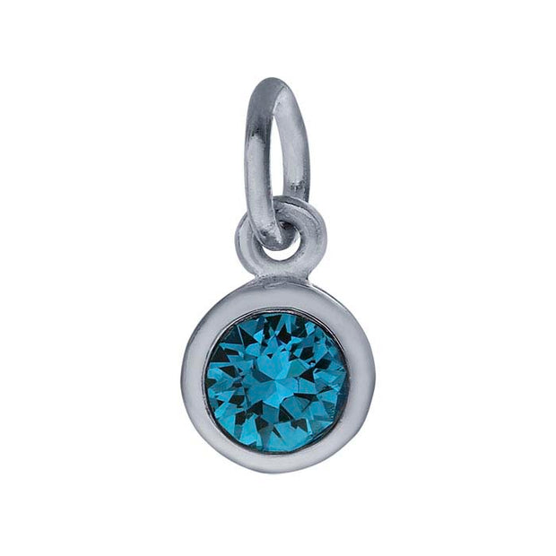 Sterling Petite Penny with Sterling Silver Birthstone Charm with Swarovski® Crystal- December