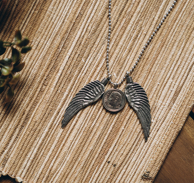 "Dime From Heaven Pair of Wings Necklace on 24"" ball chain"