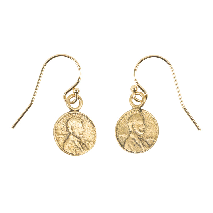 Penny From Heaven Simple Petite Penny Earrings Yellow Bronze