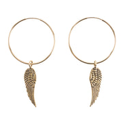 Petite Penny Hoop Earrings with Wings Yellow Bronze