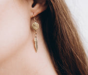 Petite Penny Earrings with Feather Yellow Bronze