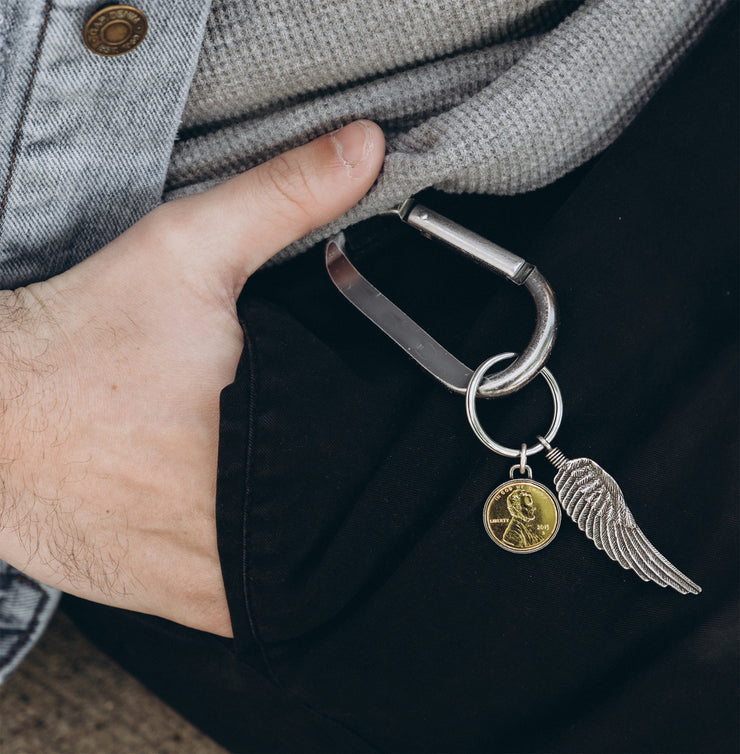 Gold Plated Penny with Wing Key Chain