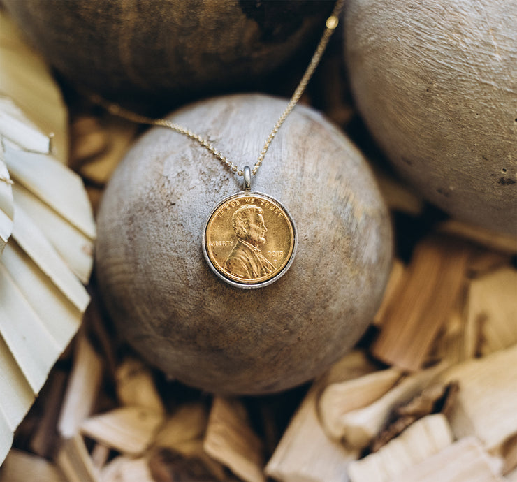 Wish Gold Plated Penny Necklace