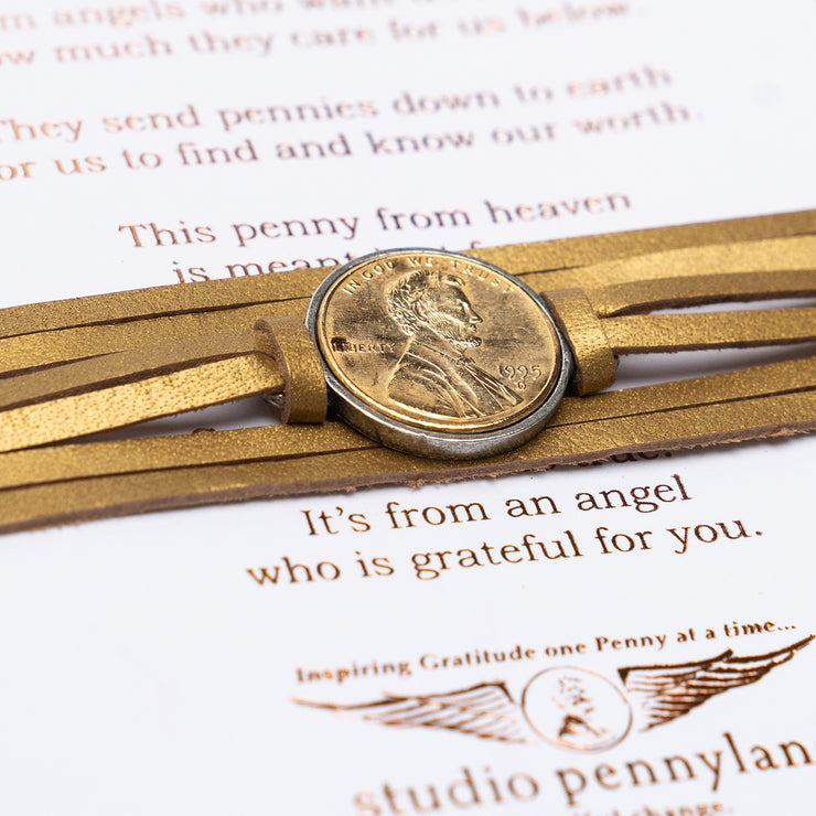 Penny From Heaven Wrap Bracelet with Gold Plated Penny- Gold