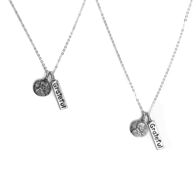 Friendship Necklace with 2 Petite Penny and Grateful word Charm Necklaces in White Bronze.