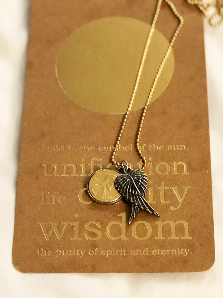 Gratitude is Golden Wings at Rest with Gold Plated Penny