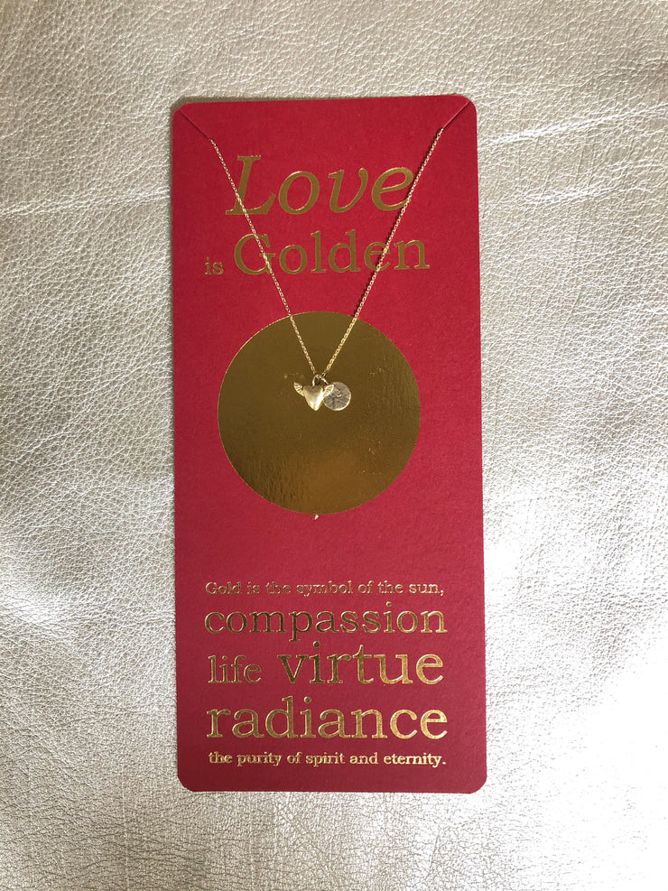 Love is Golden Petite Penny with Heart with Wings Charm on Foil Card