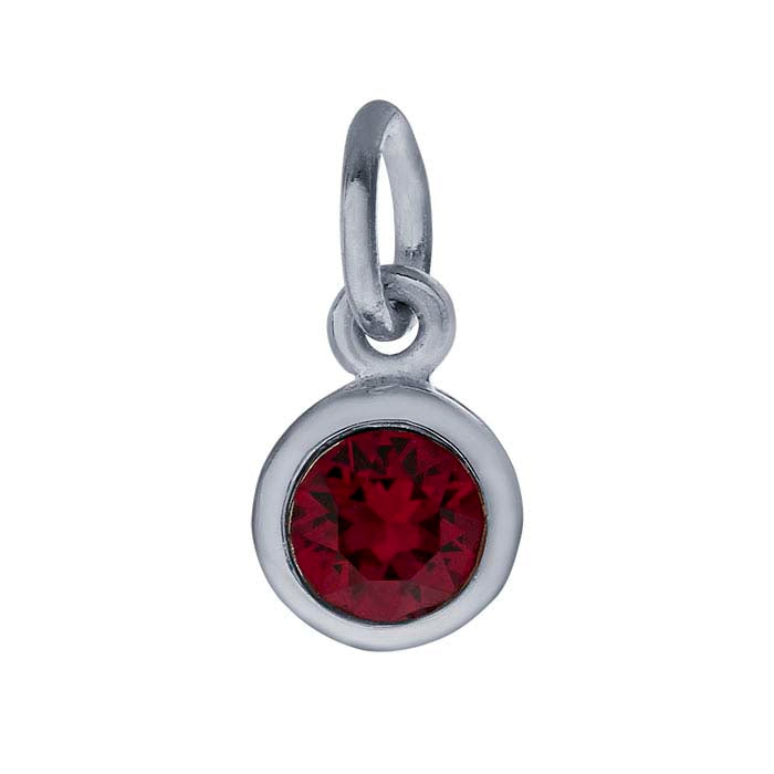 Sterling Petite Penny with Sterling Silver Birthstone Charm with Swarovski® Crystal- July