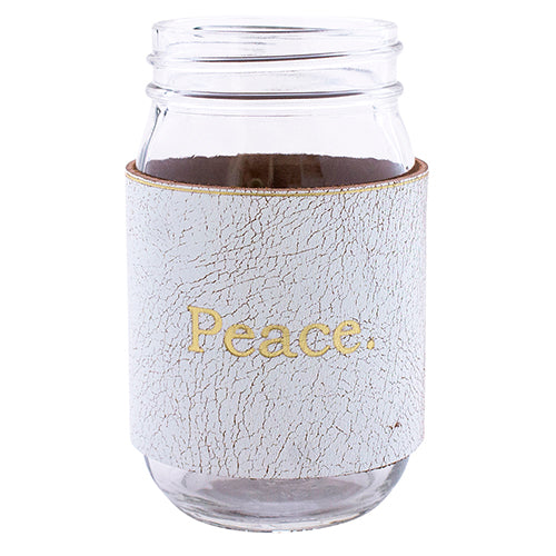 Peace Leather Mason Jar (White/Gld)