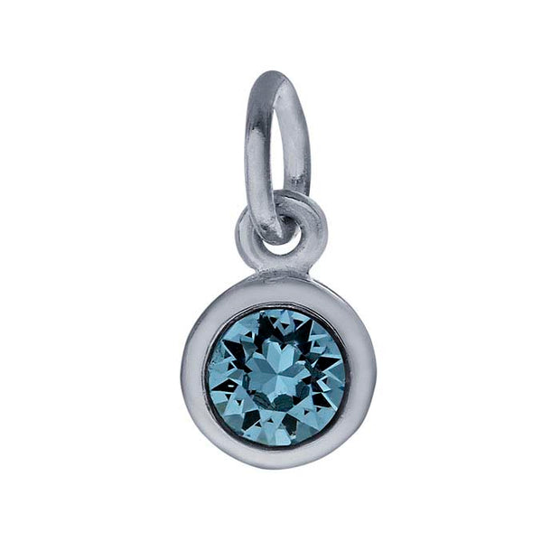 Sterling Petite Penny with Sterling Silver Birthstone Charm with Swarovski® Crystal- March