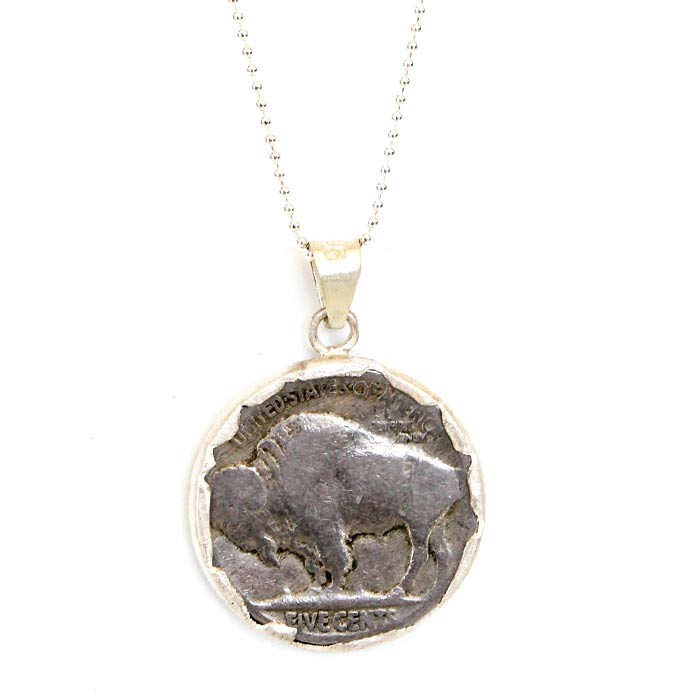 Buffalo Head Nickle Necklace Sterling Chain