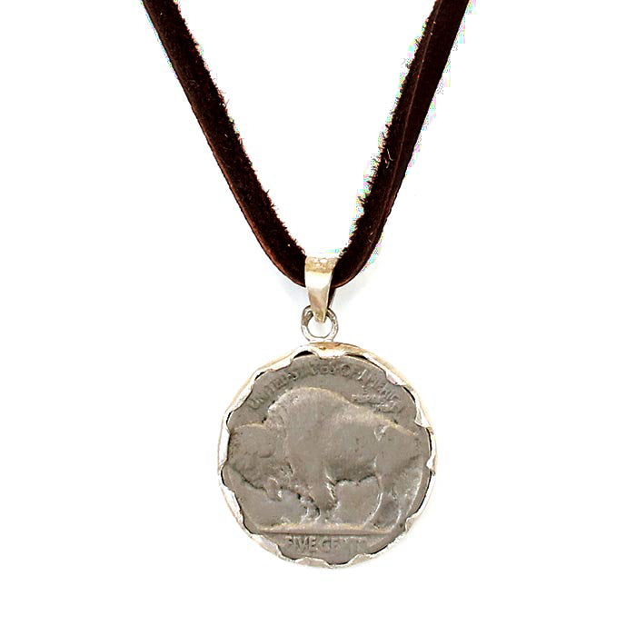 Buffalo Head Nickle Necklace on Deerskin Leather Black