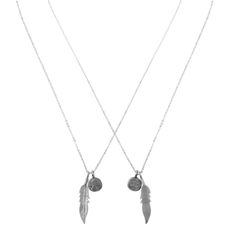 Friendship Necklace with 2 Petite Penny and Feather Necklaces in White Bronze