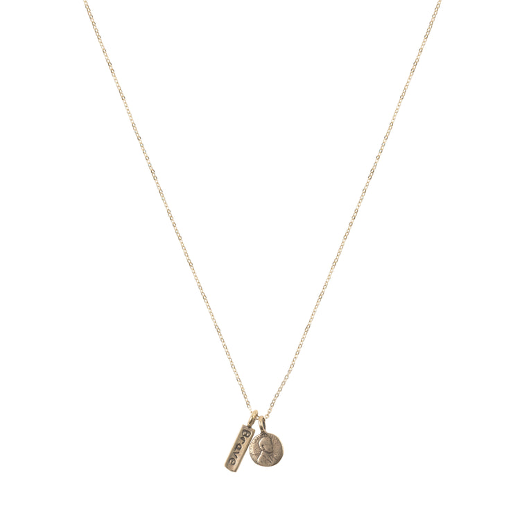 Petite Penny Necklace w/ Brave Charm Yellow Bronze