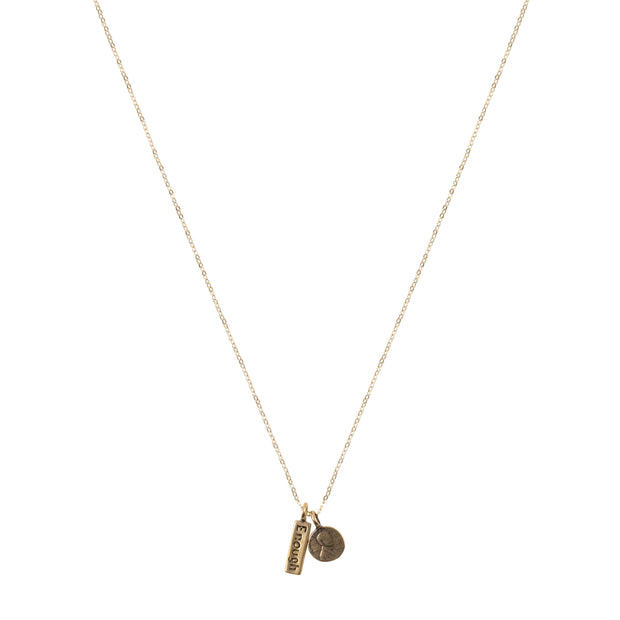 Petite Penny Necklace w/ Enough Charm Yellow Bronze