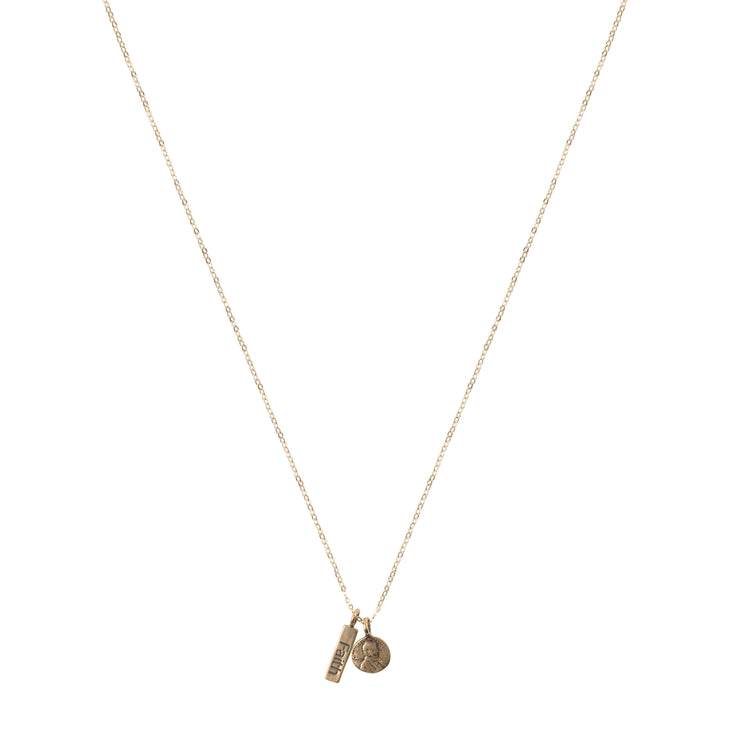 Petite Penny Necklace w/Faith Charm Yellow Bronze