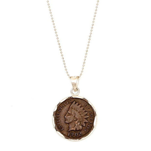 Antiqued Sterling Bezel Indian Head Necklace
