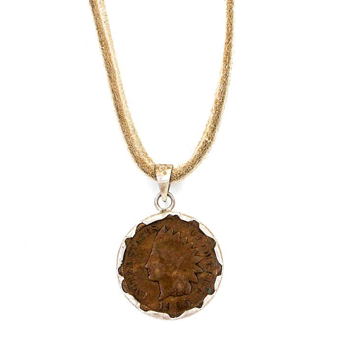 Buffalo Head Nickle Necklace on Deerskin Leather Buck