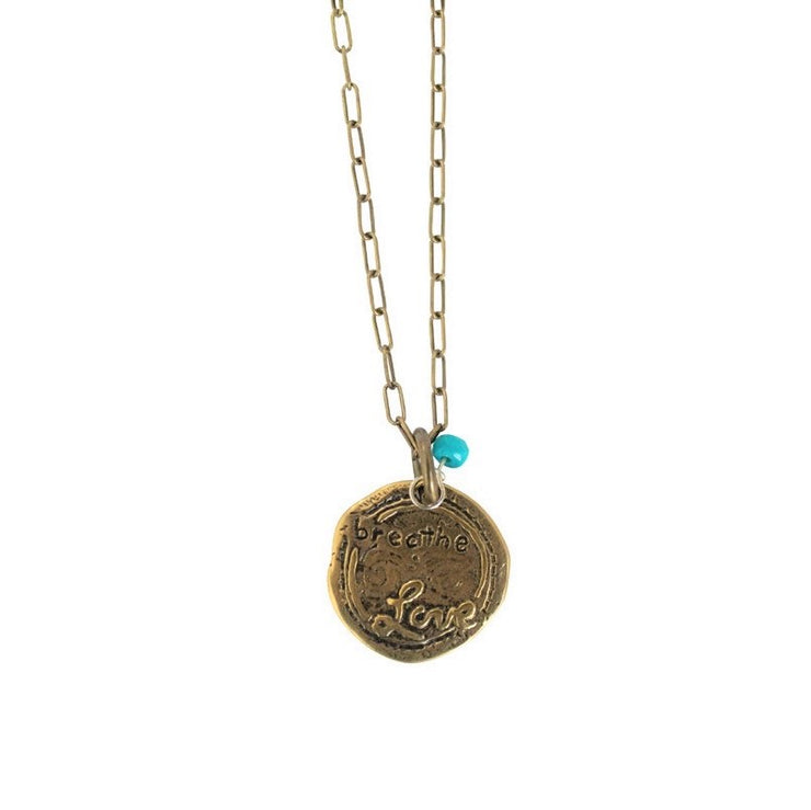 Breathe Love Embossed Penny Necklace
