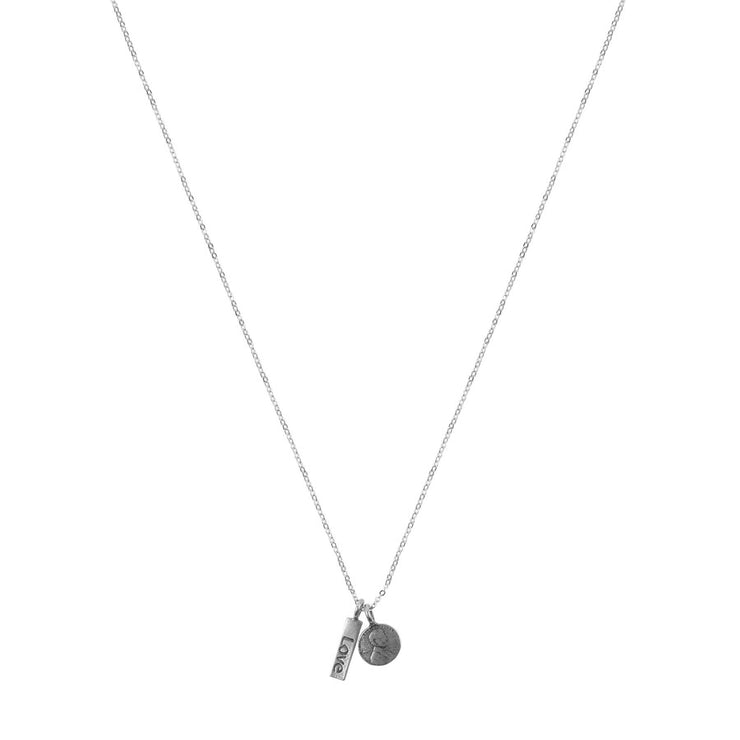 Penny From Heaven Love word charm Necklace.  White Bronze