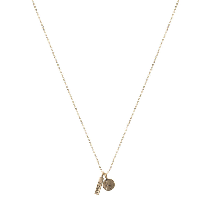 Penny From Heaven Love Necklace.  Yellow Bronze