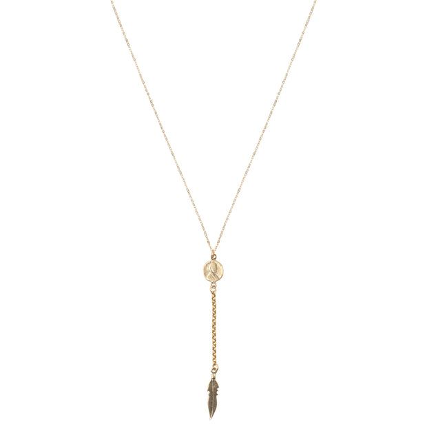 Petite Penny Lariat Necklace with Feather Yellow Bronze